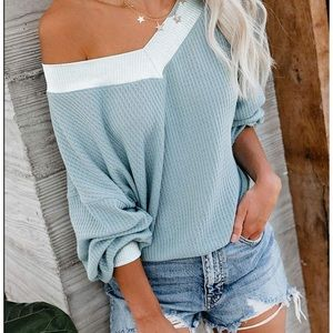 Sweaters - Off Shoulder Batwing Sleeve Oversized Knit Top